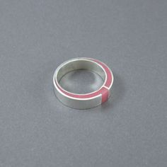 Resin silver ring pink ring modern resin ring by MissSilver, €47.00