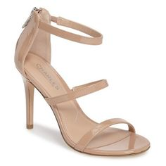 Women's Charles By Charles David Ria Strappy Sandal ($99) ❤ liked on Polyvore featuring shoes, sandals, nude patent leather, charles by charles david shoes, strap shoes, nude patent leather shoes, nude shoes and nude sandals