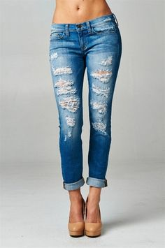 Medium Wash Destroyed Jeans – Texas Two Boutique