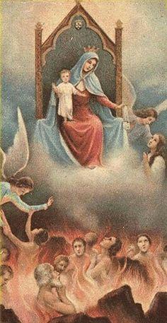 Ángeles Guardianes con las almas encomendadas desde su concepción en el Purgatorio. La misión del Ángel de la Guarda es estar con nosotros siempre hasta que lleguemos a la presencia de Dios.