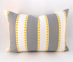 1  Lumbar Pillow Grey Yellow and White Stripe by MyPillowStudio, $25.00