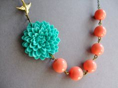 Bridesmaid JewelryTurquoise Flower NecklaceCoral by RachelleD, $32.00