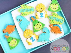 2 is Dino-mite! Dinosaurs don't seem so scary to me…. Birthday Cookies, Dinosaurs, Scary, Law, Desserts, Color, Deserts, Colour, Dessert