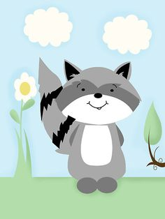 Raccoon Enchanted Forest Nursery Art by JessDesigns