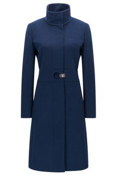 Regular-fit coat in a virgin wool blend