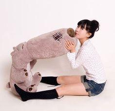 47 inch Plush Bear Stuffed Big Nose Bear Back Cushion Plush Toys