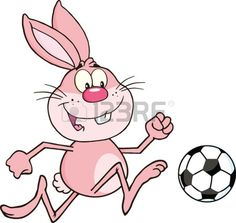 Cute Pink Rabbit Cartoon Character Playing With Soccer Ball  Illustration Isolated on white