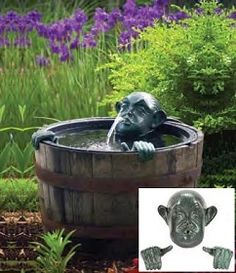 Man in Barrel Spitter w/pump: Your container water garden will never be the same once you add a face to it. This hilarious spitter is sure to add watery fun to your garden. (Barrel not included.) Available at www.ShopTJB.com