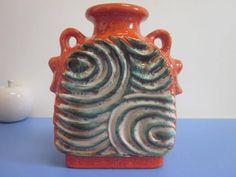 Duemler & Breiden 675 shrill 70s vase in green and orange 60s 70s port art WGP lava - wow! von Designclassics24 auf Etsy