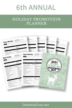 The 2021 Holiday Promotion Success Kit is the ultimate planner to capture holiday sales.6th ANNUAL - REVISED AND UPDATED FOR 2021 WITH NEW PAGES AND MORE HOLIDAY PROMO IDEASUse this 4th Quarter Planner to plan your custom holiday promotions as well as Christmas, Thanksgiving, Black Friday, Cyber Monday, Giving Tuesday, and more. Buy Now! #blackfriday Marketing And Advertising, Social Media Marketing, Social Media Cheat Sheet, Seo News, Budget Templates, Promotion, Success, Messages, Kit
