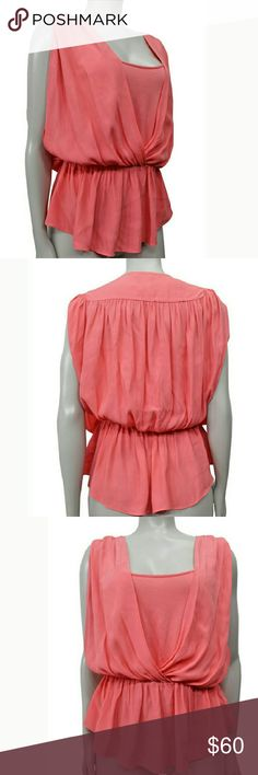 Anthropologie Coral Pink Drape Front Top Like new. Size 6. By Hd in paris from anthro. Banded waist. Viscose/rayon fabric. Anthropologie Tops Blouses