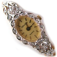 VINTAGE GRUEN GENUINE DIAMONDS Wristwatch Ladies WATCH 1/40 10K RGP Gold Band $888 ... we sell more VINTAGE WATCHES at http://www.TropicalFeel.com