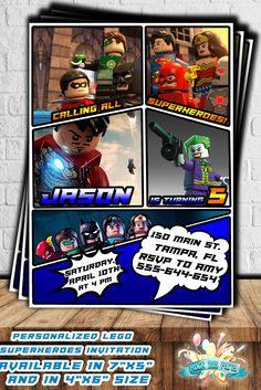 SUPERHEROES LEGO MARVEL invitation,super heroes birthday party invitations,personalized printable birthday invites,Lego party ideas,bday boy di RockThisParty su Etsy