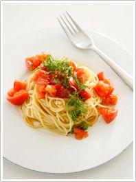 しょうゆ味の冷たいトマトパスタ:協会のパスタレシピ│レシピを探す│日本パスタ協会
