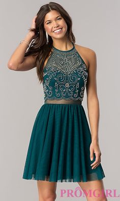Image of short emerald green homecoming dress with open back. Style: BN-57485 Front Image