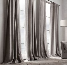 Belgian Textured Linen Drapery. actually prob a custom job, but i'd like to see 2 gray linen panels framing the window wall. talkin' from the highest ones down to the floor. BOOM