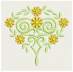 {Heirloom Flower- Almost Heart Shaped 000001701a-PES K.H.}  Embroidery Designs Home
