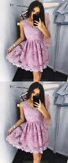A-Line Dresses,V-Neck Dresses,Short Homecoming Dresses,Pink Homecoming Dresses