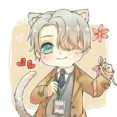 Viktor Nikiforov, cute, chibi, cat, neko, ears, tail, ribbon, string, hearts, flower; Yuri!!! on Ice