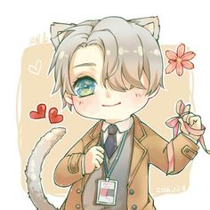Viktor Nikiforov, cute, chibi, cat, neko, ears, tail, ribbon, string, hearts, flower; Yuri!!! on Ice
