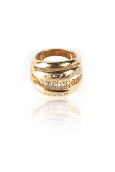 Bubble Dome Ring -    3 Dimensional Bubbles Merge Together To Form A Dome, Crystal Encrusted Center Bubble, Gold Finishing. - Rs. 599.00