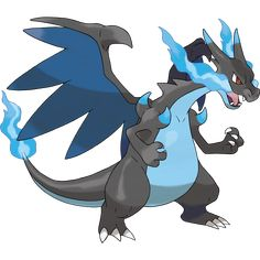Mega Charizard X is the Pokémon X exclusive mega evolution of Charizard. It has the ability Tough Claws, which increases the power of any moves that make physical contact with the opponent, and an increased Attack stat. It is now a FIRE/DRAGON-type. Dragon Type Pokemon, Flying Type Pokemon, Pokemon X And Y, Mega Pokemon, Pokemon Alpha, Pokemon Names, Pokemon Fusion, Mega Evolution Pokemon, Pokemon Tattoo