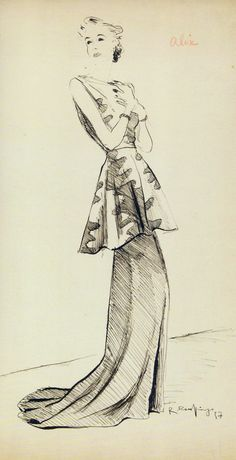 ALIX  Spring 1936, Chinese ink on paper, Roger Rouffiange (Harper's Bazaar, 1937)