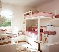 Girl's bedroom pink and white Girls Bedroom Furniture, Room Ideas Bedroom, Kids Bedroom, Tidy Room, Pink Bedroom For Girls, Pretty Bedroom, Childrens Beds, Boy Girl Room, House Beds