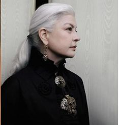 Marie Seznec's beautiful silver hair.  My mom would look cute with this style