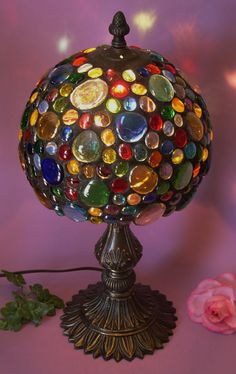 Stained Glass Lamp with Colored Glass Nuggets