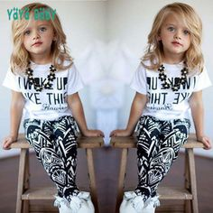 5864077f277c9 New Summer Baby Child Girls Clothing Set European Style Letter Printed  Short Sleeve Shirt + Geometric Printing Pants