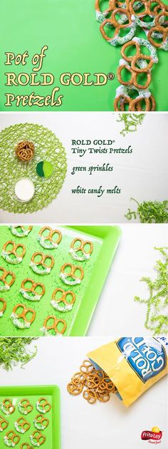 Add a splash of sweetness to your Saint Patrick's Day with these easy, no-bake Pot of Gold Pretzels. Melt your candy, dip your delicious ROLD GOLD® Tiny Twists pretzels and sprinkle as desired for a delicious treat to share with your friends and coworkers.