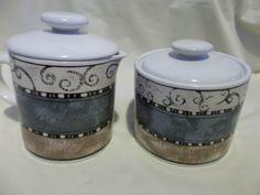 Sukura Creamer & Sugar Dish Tan and Brown Swirls and Stripes Retired 1997 Oeinda #sukura