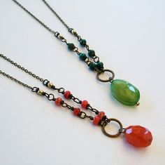 Poppy Necklace Orange or Green Carnelian and Pink by SimonandRuby