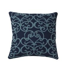 Embroidered Pillow Covers – Blue Fretwork