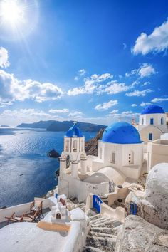 Blue domes, Oia, Santorini, Greece    Discover the world of Alexis & Sophie on alexis-and-sophie.com and get your #fairytaleskincare