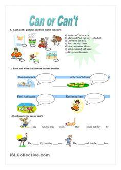 Can or Can't - worksheet - kindergarten level