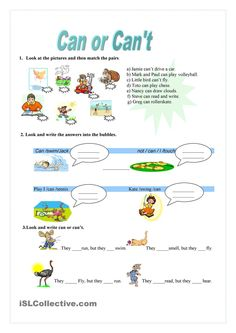 Can or Can't - worksheet - kindergarten level