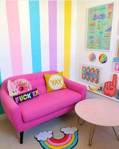 Back in the Rainbow Room today & my pink sofa has a brand new YAY cushion buddy by ☀️ Felt there was a need to balance out the… Room Colors, House Colors, Girl Room, Girls Bedroom, Living Room Decor, Bedroom Decor, Pop Art Bedroom, Colourful Living Room, Pink Sofa
