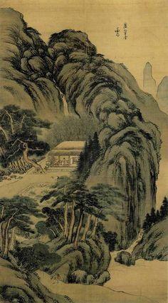 (Korea) 廬山草堂 by Gyeomjae Jeong Seon (1676-1759). color on silk.  125.5 x 69cm, Gansong gallery, Seoul. 여산초당도.