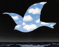 René Magritte (Belgian, 1898-1967). The Kiss, 1951. Oil on canvas. 59.2 x 77.2 cm. (23 5/16 x 30 3/8 in.). Museum of Fine Arts, Houston.