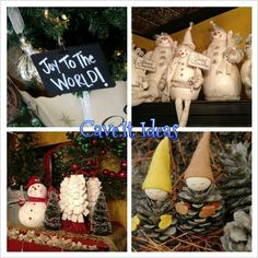 pinecone elves! use wood balls, felt, and screweyes on top of head to hang by ribbon. spray paint or dip in white paint and make silver ones?