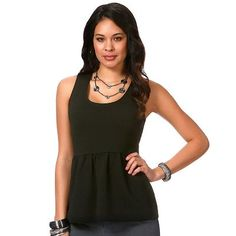 daisy fuentes Solid Peplum Tank Top