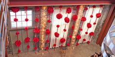 pompoms and a red ribbon, you will have an unlimited DIY backdrop for your wedding