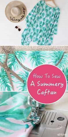 DIY this easygoing caftan easily! Whether you wear it for a day on the shore or a night on the town, a breezy caftan will keep you looking effortlessly chic for all of your warm weather adventures. It's basically one piece of fabric that's been folded in half with two seams. So, if you can sew a straight line, you can make this caftan. Tutorial here: http://www.ehow.com/how_2323488_sew-easy-caftan.html?utm_source=pinterest.com&utm_medium=referral&utm_content=freestyle&utm_campaign=fanpage