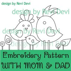 With Mom and Dad 15027 - Embroidery Pattern - PDF download - Whimsical design