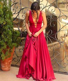 Unique red v neck long prom dress, red evening dress