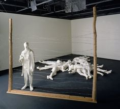 "George Segal (American, ""The Holocaust,"" Segal creates life-sized casts of people. In this work, the holocaust victim is attempting to engage the avoidant viewer by interacting through a fence. Protest Kunst, Protest Art, Jewish History, Jewish Art, Jüdisches Museum, Holocaust Memorial Day, George Segal, Wire Installation, Museums"
