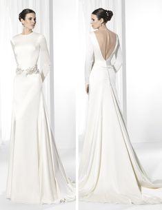 Franc Sarabia-Vestido de novia estilo Vintage con escote a la caja y manga larga.