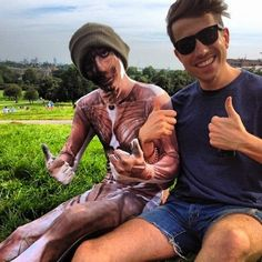Harry Styles and Nick Grimshaw and yes that is Harry in a full bodysuit